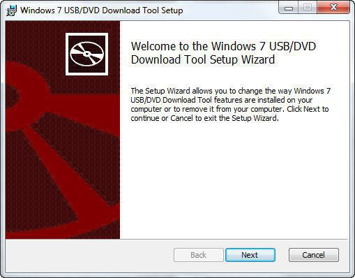 Установка Windows 7 USB/DVD Download tool